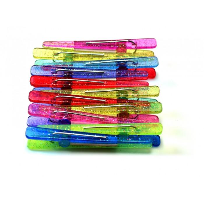 Clips Pl�sticos Coloridos com Glitter 12 unidades