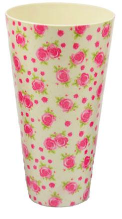 Copo/Pote Expositor Estampado Floral Rosas 750ml - 01 Unidade