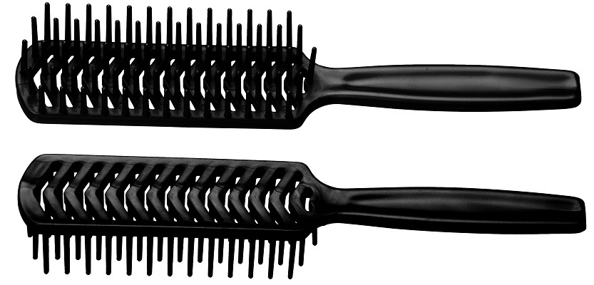 Escova de Cabelo Preta Plástica Modelo Jacaré