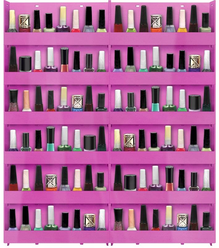 Expositor de Parede Para Esmaltes 12 bandejas - Pink