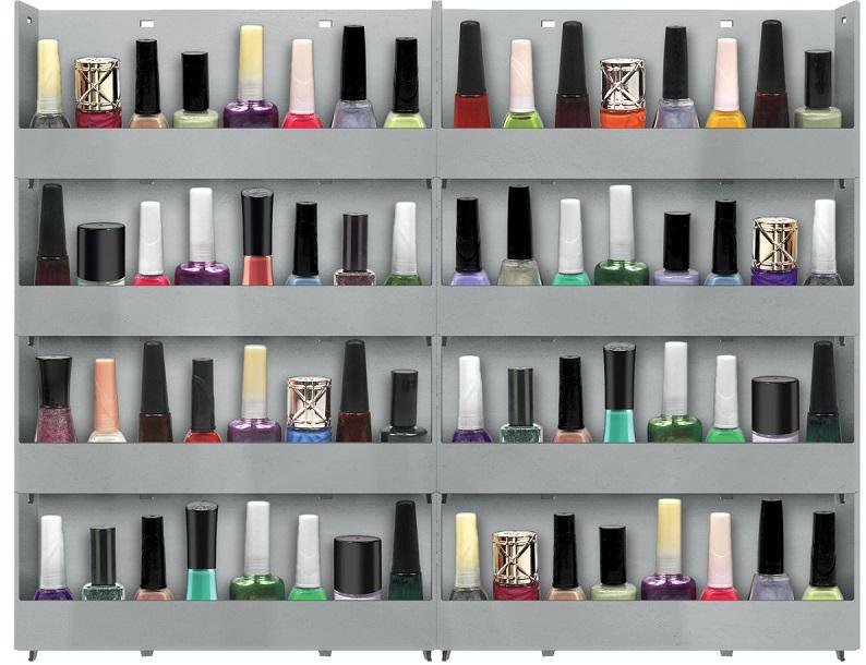Expositor de Parede Para Esmaltes 8 bandejas - Branco