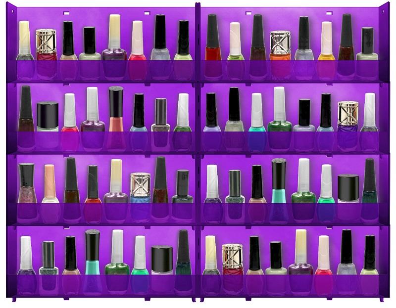 Expositor de Parede Translucido Para Esmaltes 8 bandejas - Lilás