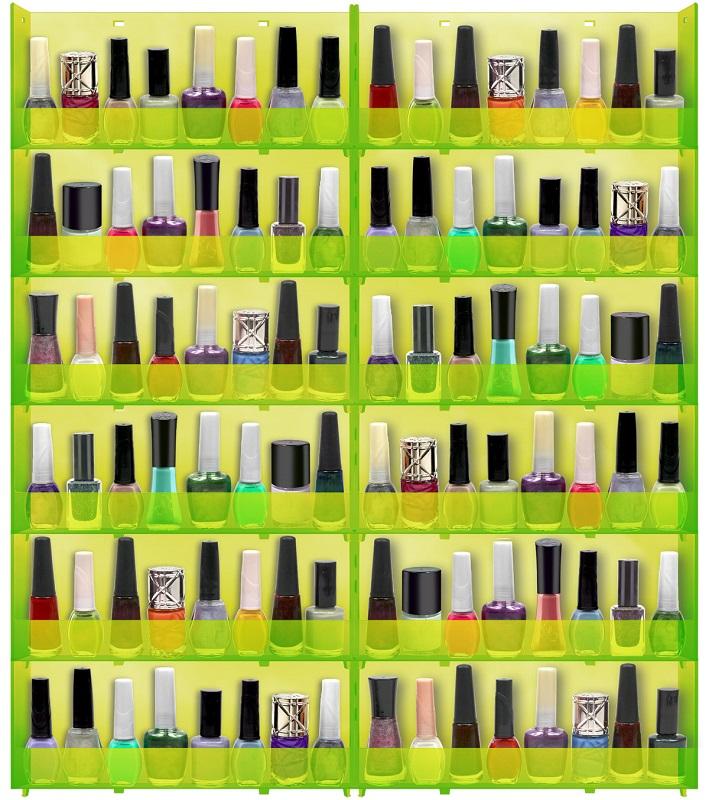 Expositor de Parede Para Esmaltes Translucido 12 bandejas - Verde Limão