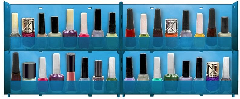 Expositor de Parede Para Esmaltes Translucido 4 bandejas - Azul