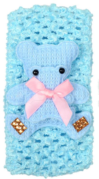 Faixa Luxo Azul Larga Para Cabelos Com Feltro Urso - 01 Unidade