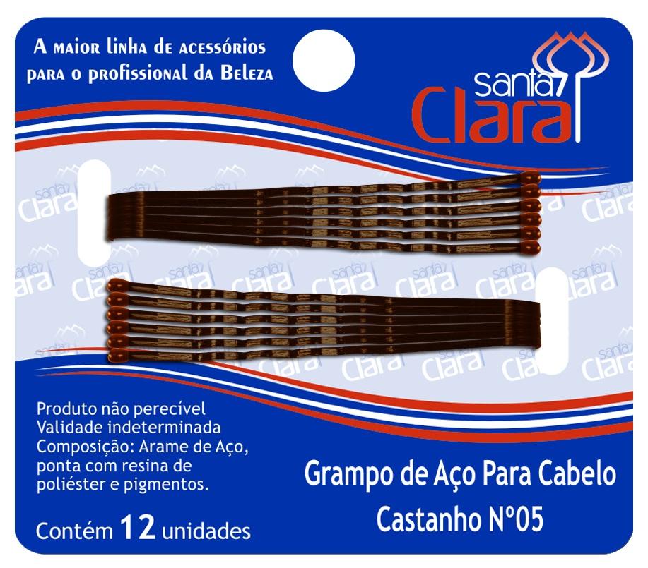 Grampo De Aço Para Cabelo Castanho N° 5 - 12 Unidades