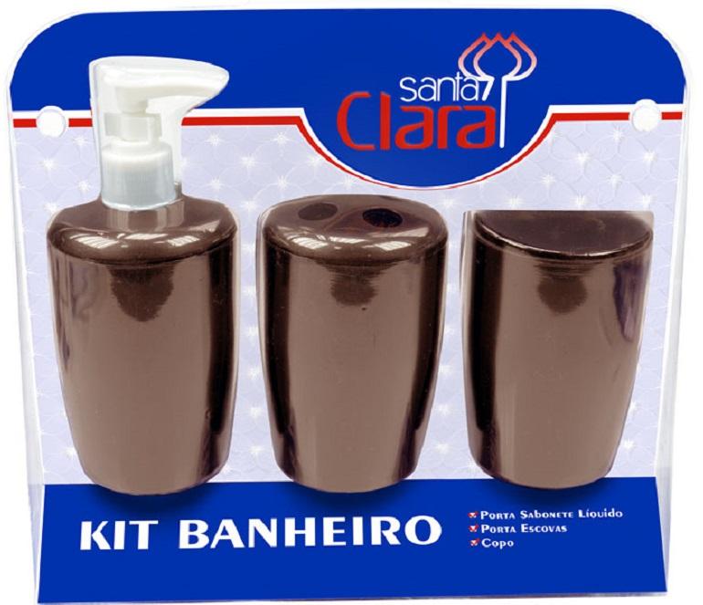 Kit Com 03 Peças Para Banheiro Marrom- Santa Clara