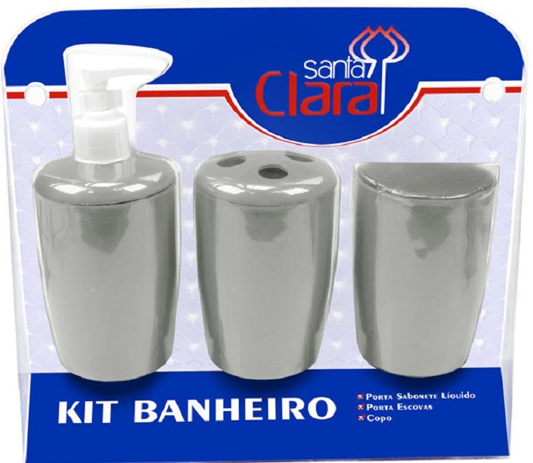 Kit Com 03 Pe�as Para Banheiro Prata- Santa Clara