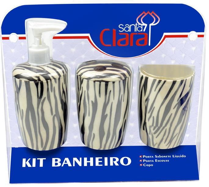 Kit Estampado Zebra Para Banherio Com 03 Peças - Santa Clara