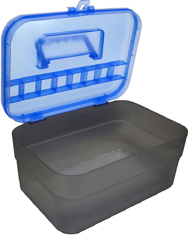 Maleta Bicolor Fumê/Azul Compacta com Tampa removível para Manicure
