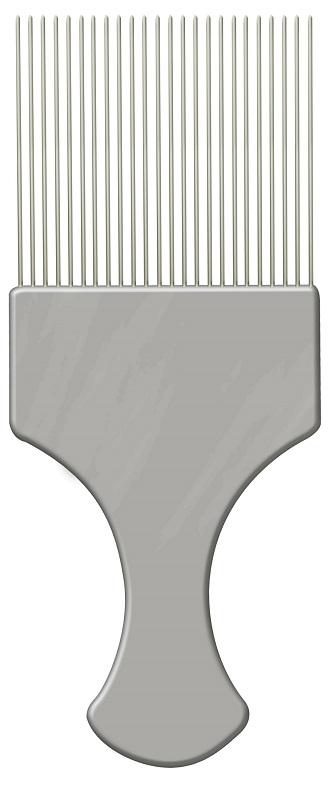 Pente Pl�stico Afro Prata Com Dentes Finos de A�o