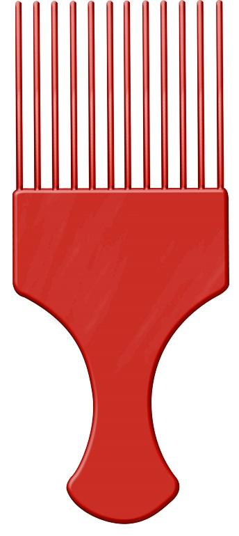 Pente Plástico Afro Vermelho Com Dentes Finos - Santa Clara