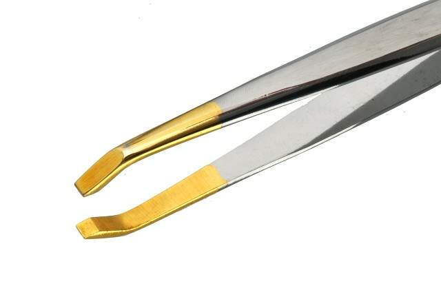 Pinça Profissional em Aço Inox  - Ponta Reta e Dourada - Importada