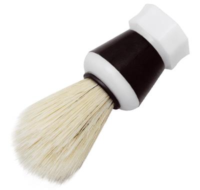 Pincel de Barba com Pelo Natural Branco e Cabo Pl�stico