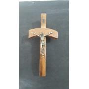 CX105 - Crucifixo Madeira 15cm Papa João Paulo II Parede