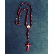 T225 - Terço Madeira 6mm Sagrado Coração de Jesus p/ Pescoço