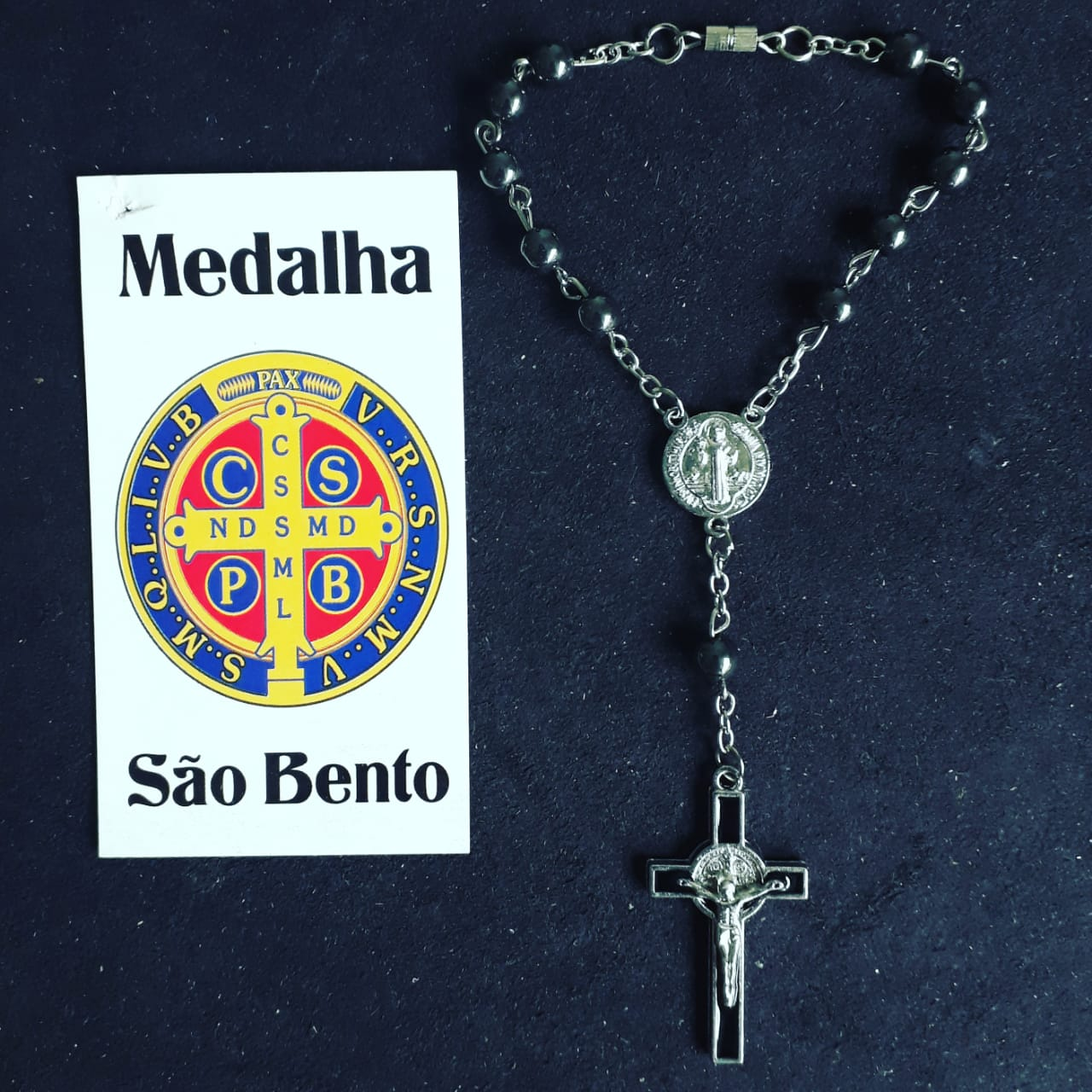 T21 - Dezena Hematita 8mm p/ Carro c/ Entremeio Med. São Bento  - VindVedShop - Distribuidora Catolica