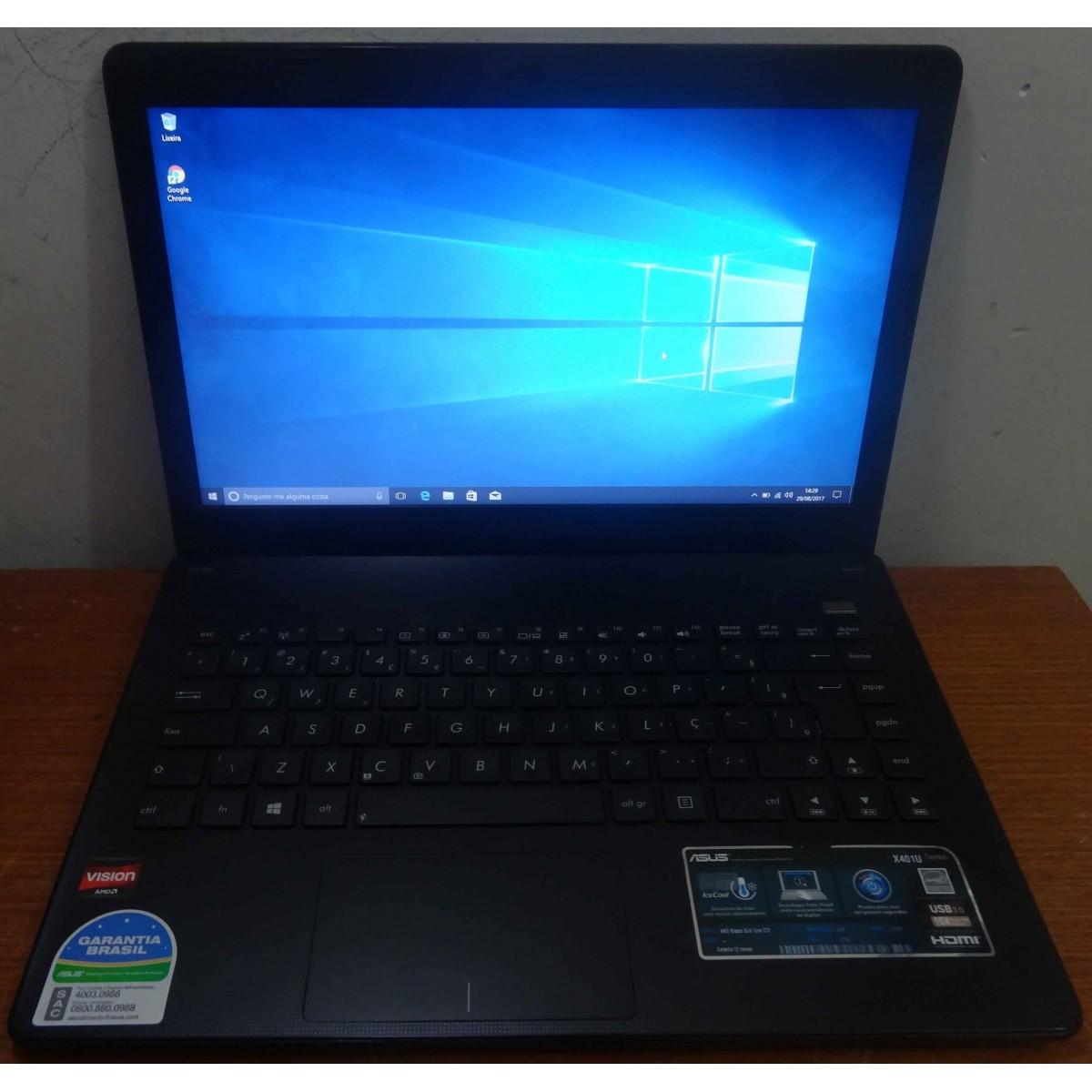 Notebook Asus X401U 14'' AMD C-70 1GHz 2GB HD-250GB