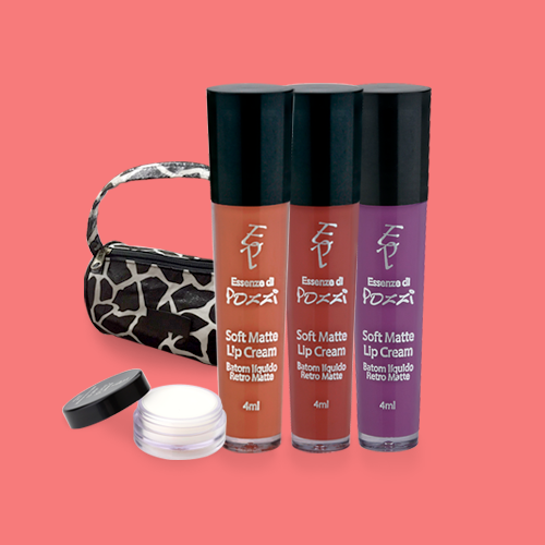 Kit Preferidos da Evelyn Regly - Batons Liquido Nude  Marsala  Velvet Grape  Lip Balm  - Essenze di Pozzi