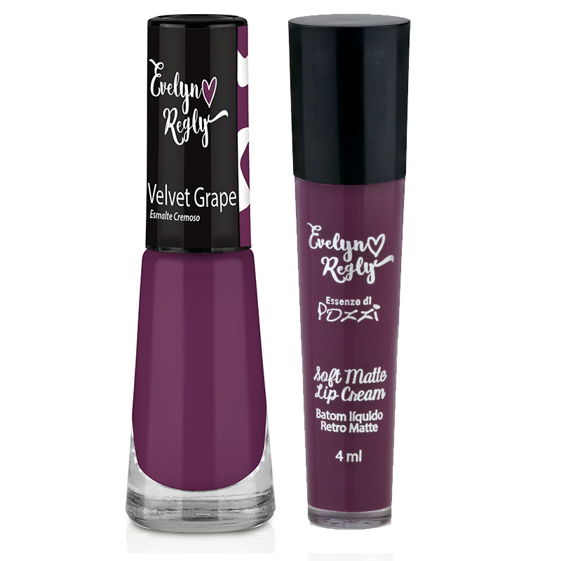 Batom Líquido Matte + Esmalte- Velvet Grape - Evelyn Regly  - Essenze di Pozzi