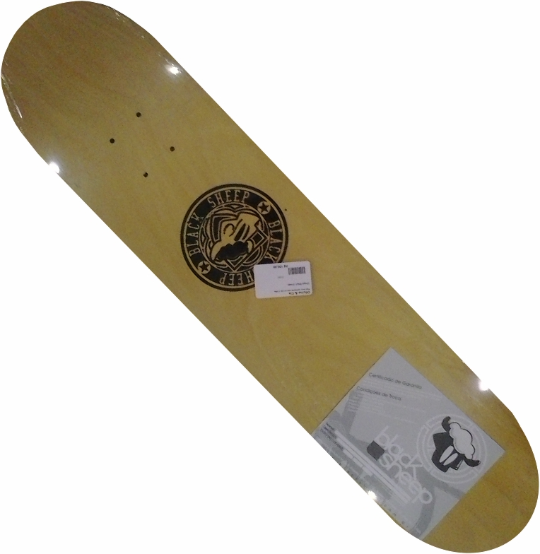 Shape Black Sheep de Skate Logo Tri Preto/Amarelo