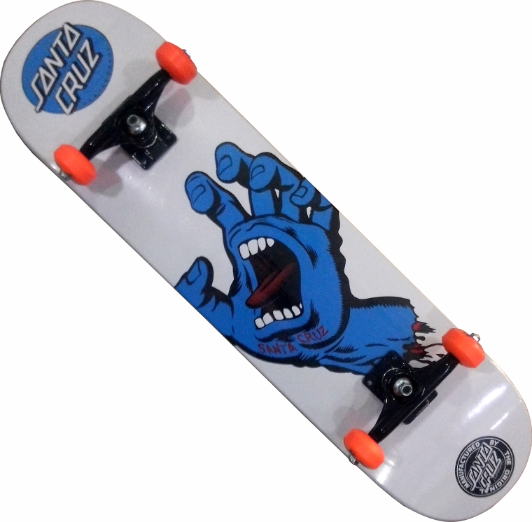 Skate Santa Cruz Montado Completo Hand/Moska/Abec 11 Branco