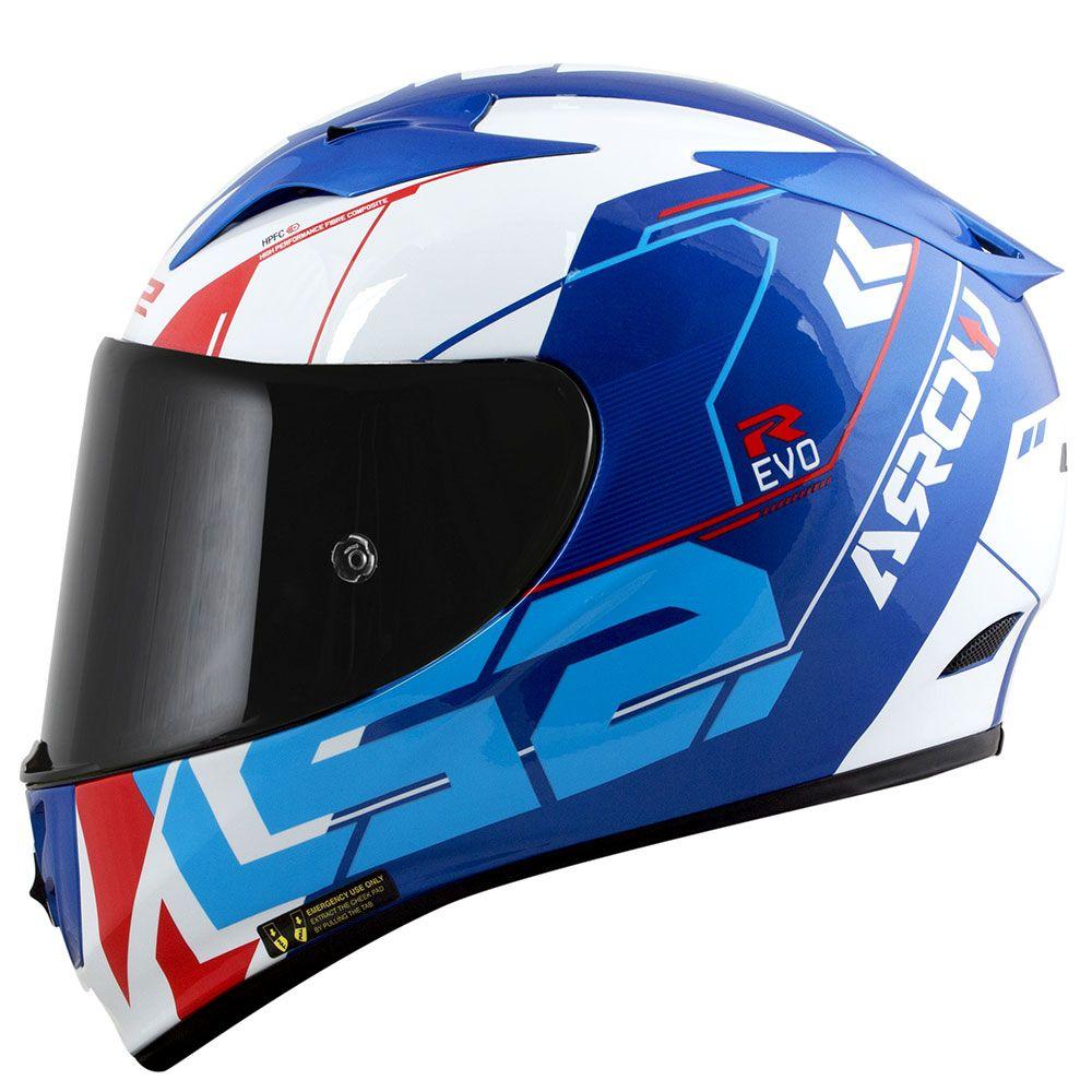 Capacete LS2 Arrow R Techno (Branco/Azul/Vermelho)