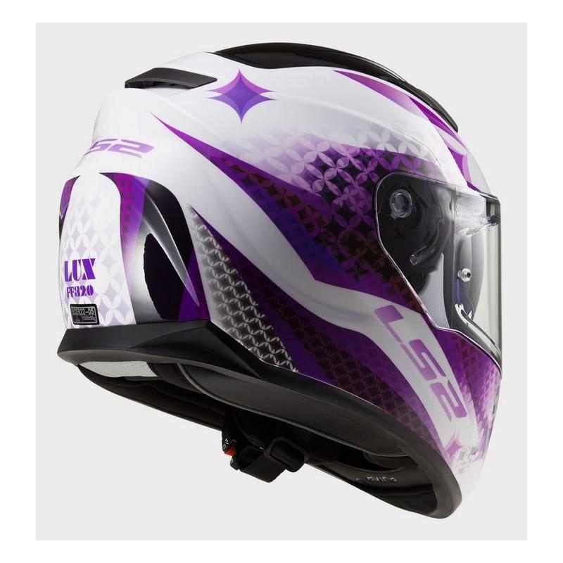 Capacete LS2 FF320 Stream Lux White / Purple  - Nova Centro Boutique Roupas para Motociclistas
