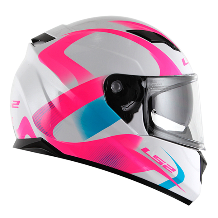 Capacete LS2 FF320 Velvet (C/ viseira solar) Branco/Rosa  - Nova Centro Boutique Roupas para Motociclistas