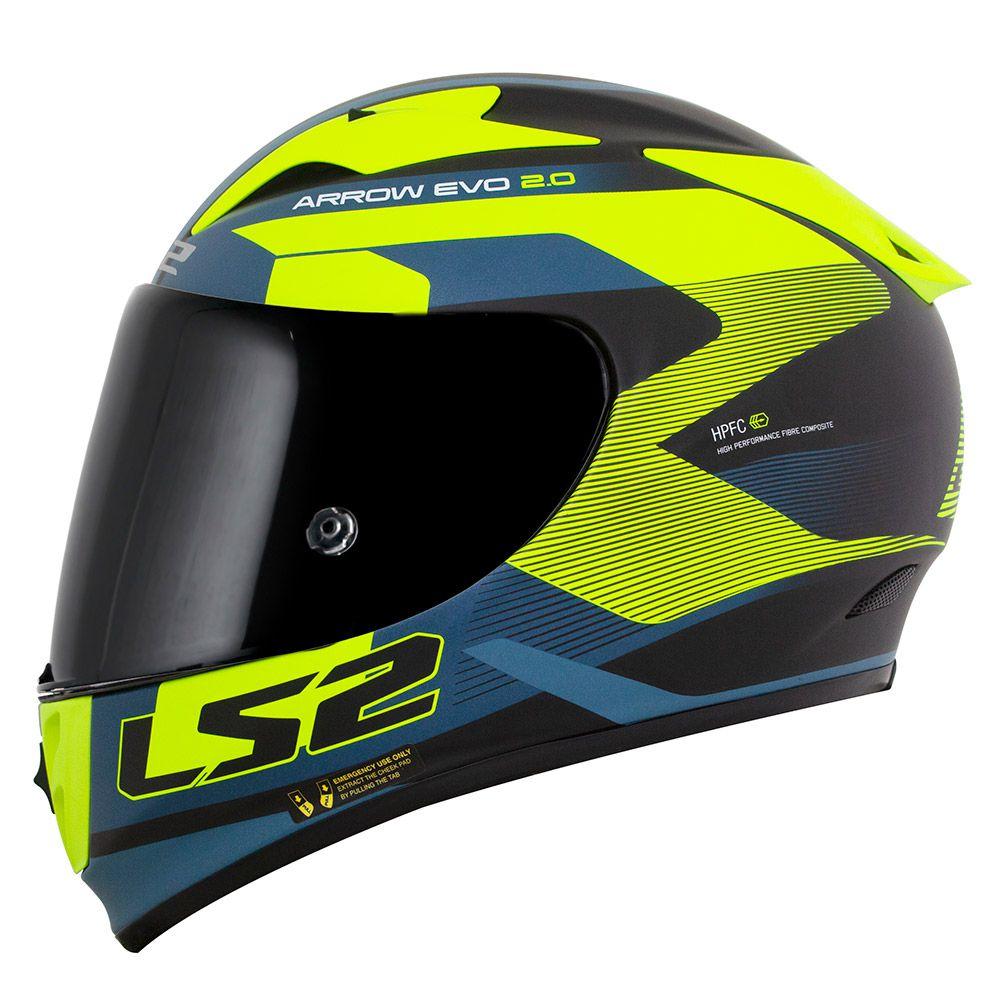 Capacete LS2 FF323 Arrow R  Compete - Azul Fosco / Amarelo / Preto - LANÇAMENTO