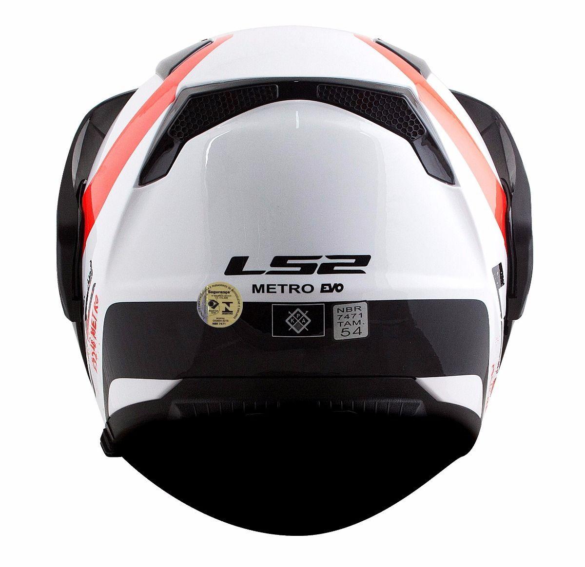 Capacete Ls2 FF324 Metro Evo Rapid White/Black/Red  - Nova Centro Boutique Roupas para Motociclistas