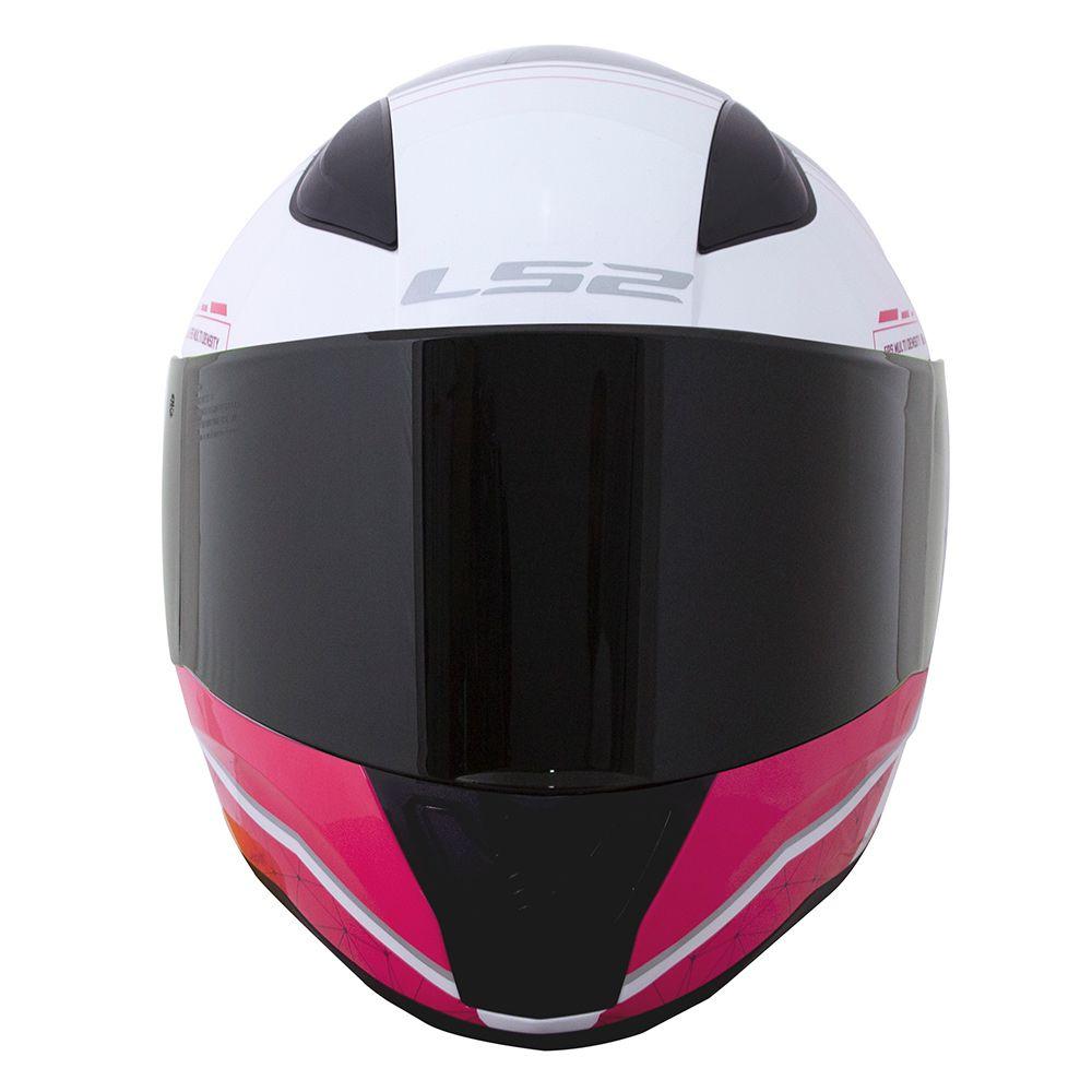 Capacete LS2 FF353 Rapid - Candie - Branco / Rosa / Cinza  - Nova Centro Boutique Roupas para Motociclistas