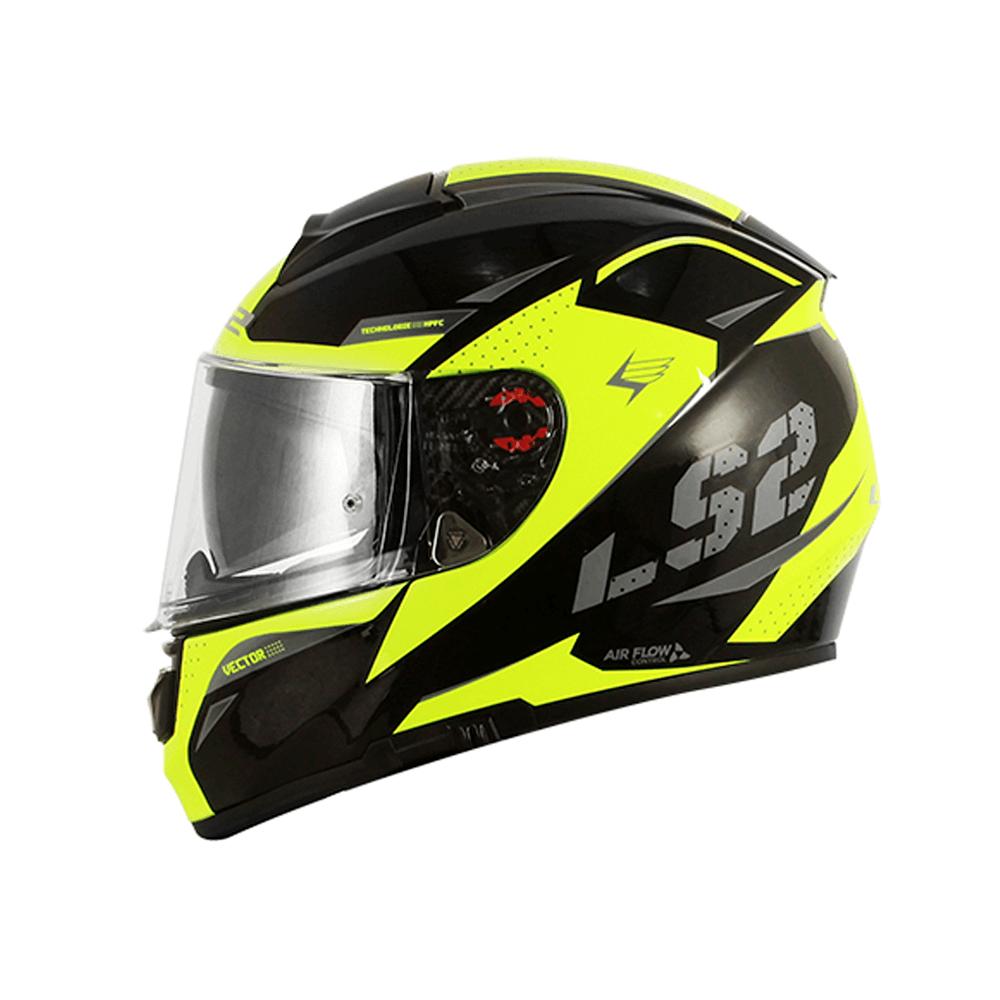 CAPACETE LS2 FF397 VECTOR FAVORER PRETO/AMARELO FLUOR/CINZA  - Nova Centro Boutique Roupas para Motociclistas