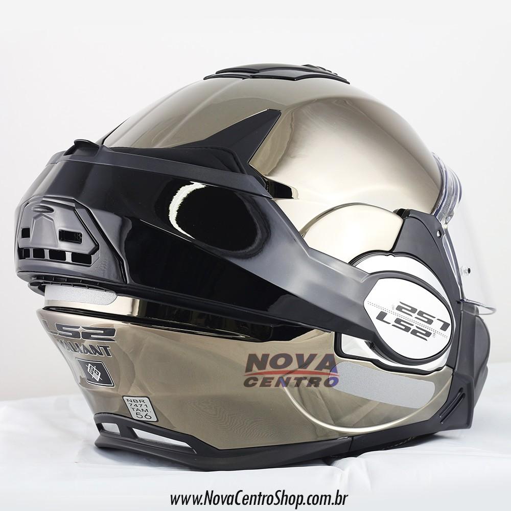 Capacete LS2 FF399 Valiant Chrome C/ VISEIRA SOLAR Articulado  - Nova Centro Boutique Roupas para Motociclistas