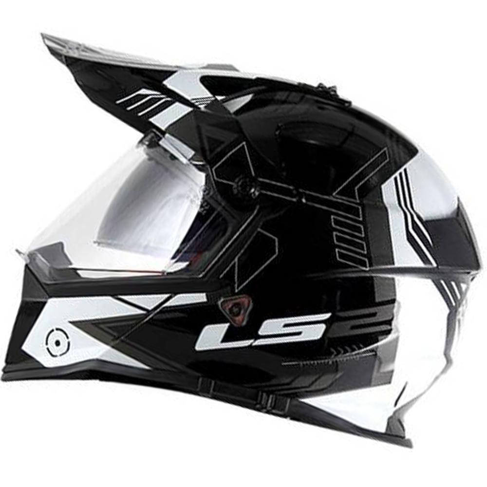Capacete LS2 MX436 Branco e Preto (MX 436)  - Nova Centro Boutique Roupas para Motociclistas