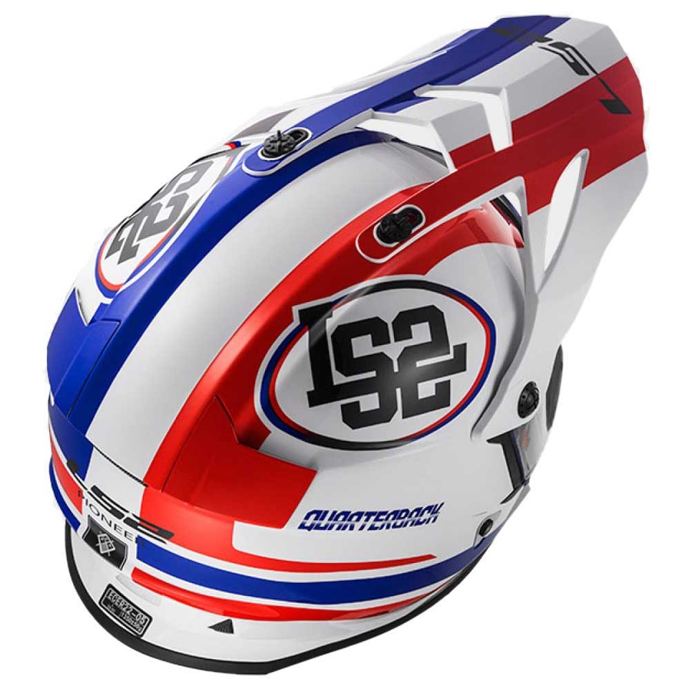 Capacete LS2 Pioneer Quarterback (Branco/Azul/Vermelho)  - Nova Centro Boutique Roupas para Motociclistas