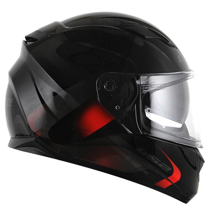 Capacete LS2 Stream (FF320) Velvet (C/ Viseira Solar) Preto/Vermelho  - Nova Centro Boutique Roupas para Motociclistas