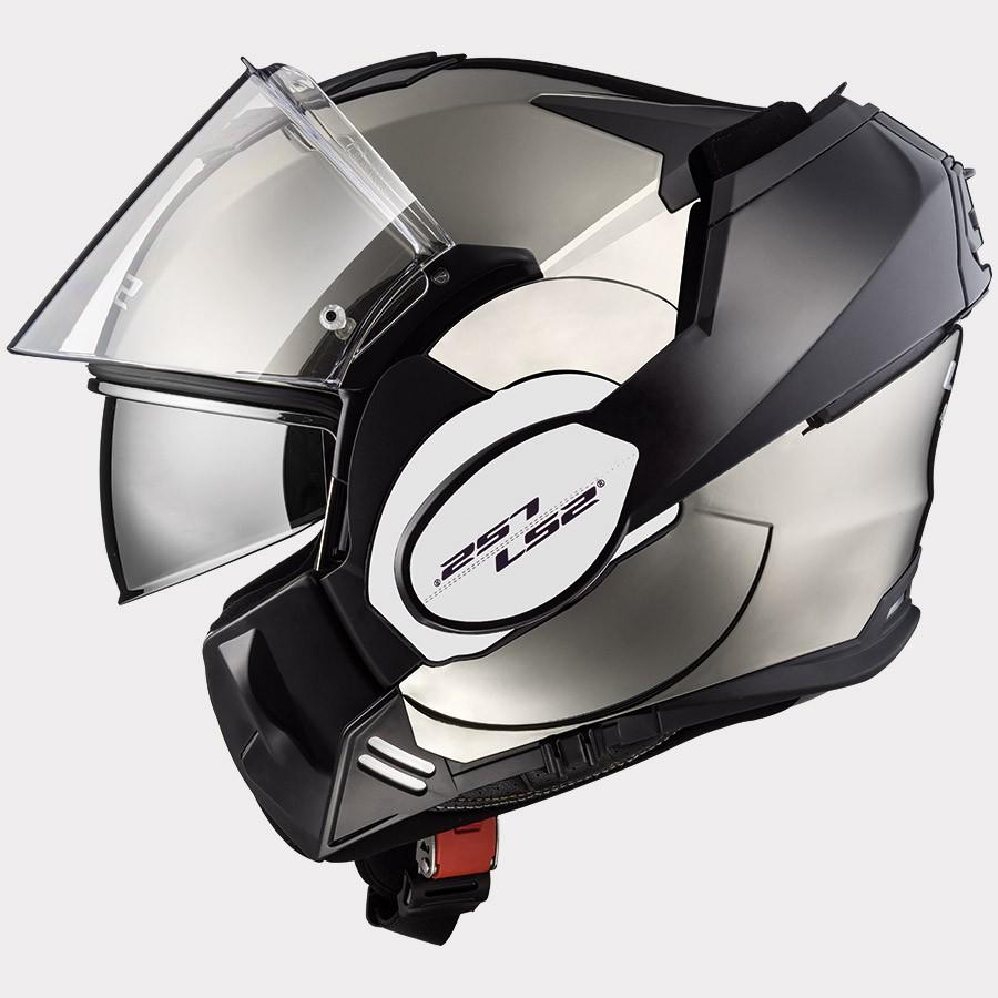 Capacete LS2 FF399 Valiant Chrome C/ VISEIRA SOLAR Articulado