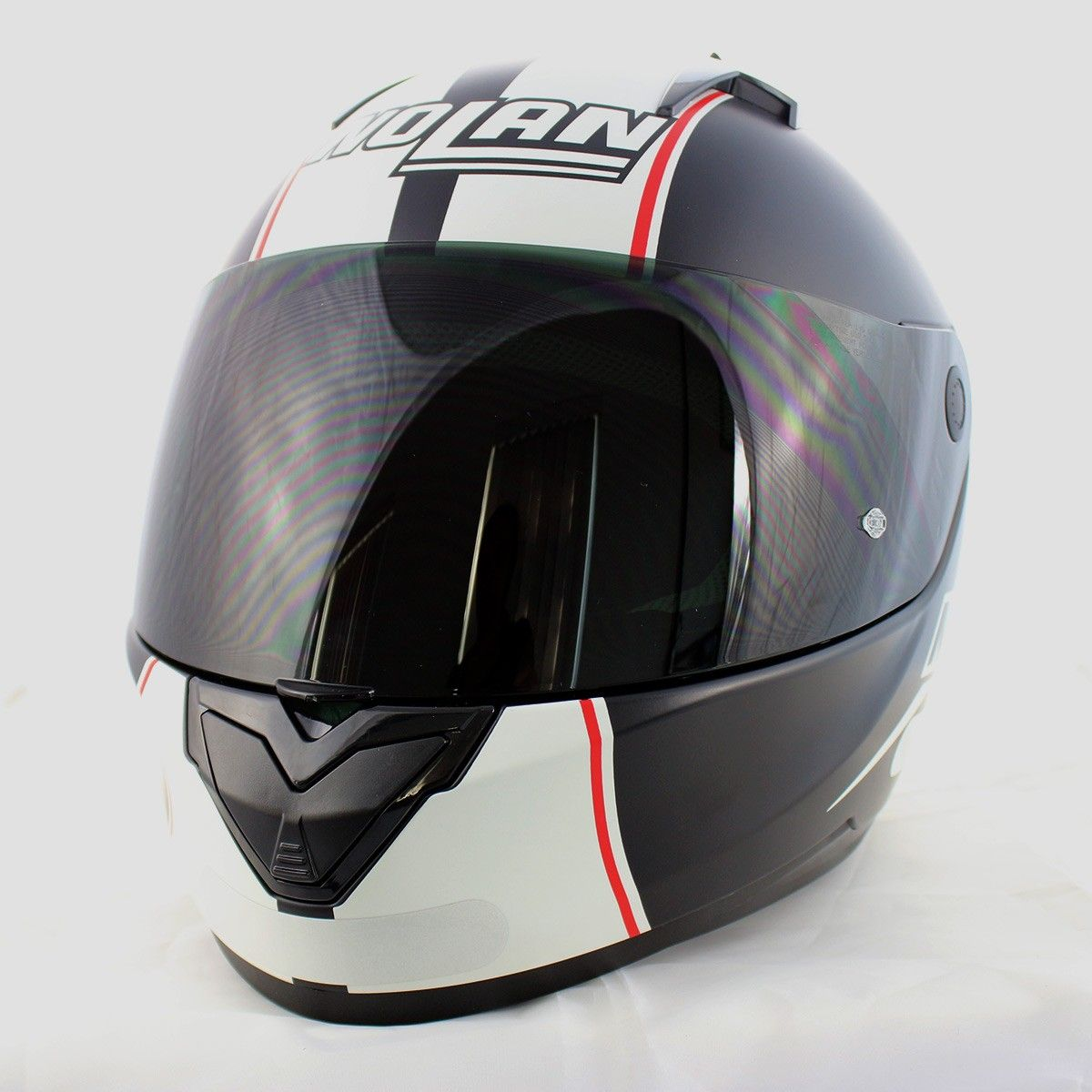 0 Capacete Nolan N64 MotoGP Flat Black c/ Branco  (GANHE BALACLAVA)  - Nova Centro Boutique Roupas para Motociclistas
