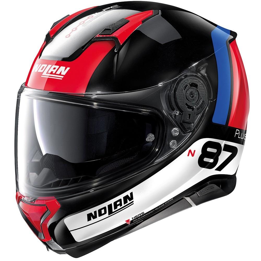 Capacete Nolan N87 Plus Distinctive - Preto/Azul/Vermelho - c/ Viseira Interna e Pinlock