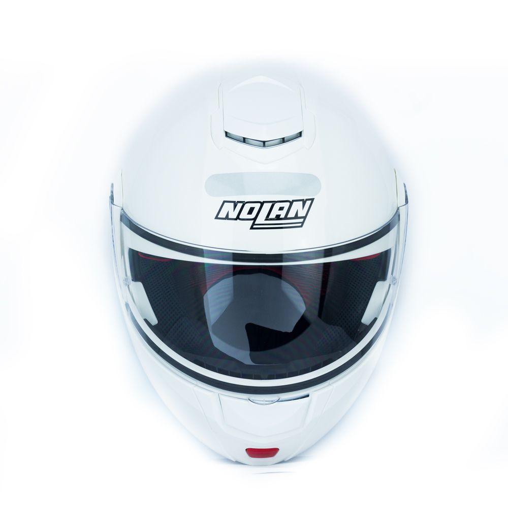Capacete Nolan N90 Classic Branco Escamoteável  C/ Viseira Solar Interna  - Nova Centro Boutique Roupas para Motociclistas