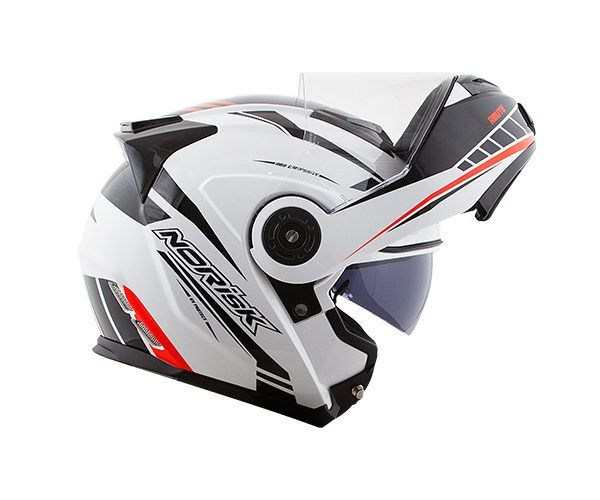 Capacete Norisk FF345 Escamoteável Route Motion White/Red C/ viseira Interna