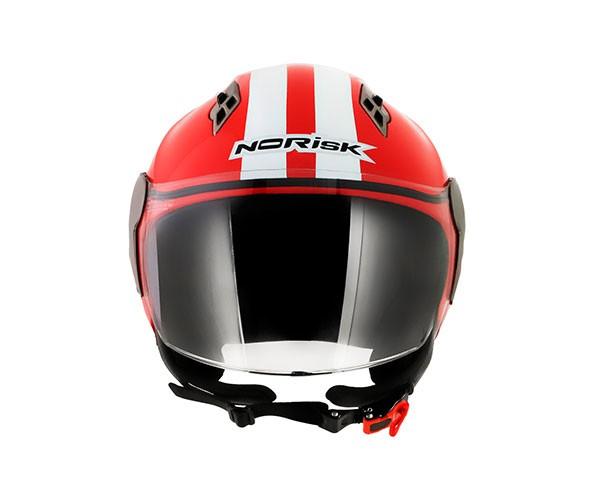 CAPACETE NORISK JET VERMELHO/BRANCO  - Nova Centro Boutique Roupas para Motociclistas