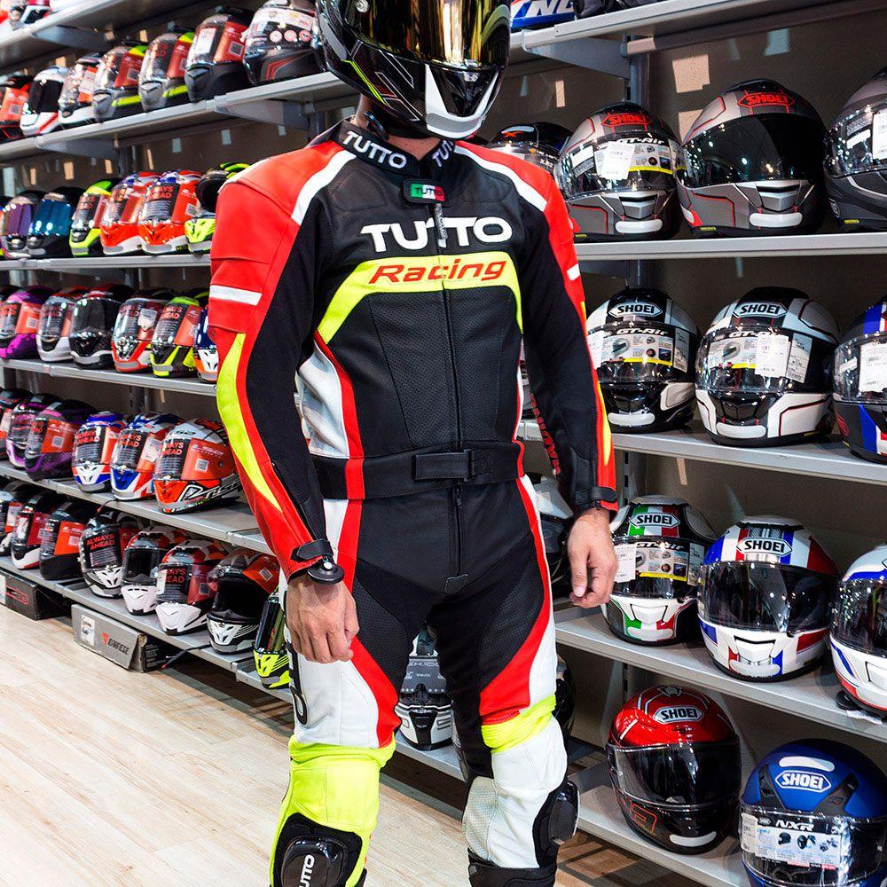 Macacão Tutto Moto Racing 2 peças Preto/Branco/Vermelho/Amarelo