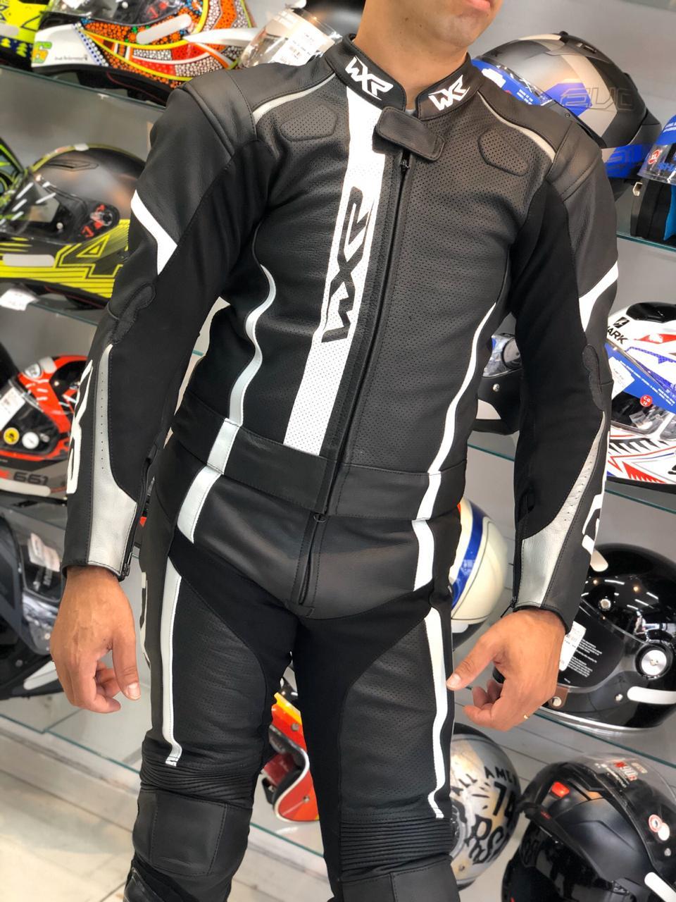 Macacão WXR - 2 peças Branco c/ Preto - LANÇAMENTO  - Nova Centro Boutique Roupas para Motociclistas