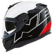 Capacete Nexx SX100 - ORION - Branco/Preto/Vermelho Com Viseira Solar