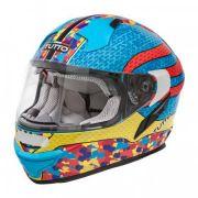 Capacete Tutto Racing Multicolor c/Óculos Interno - GANHE Viseira Espelhada!