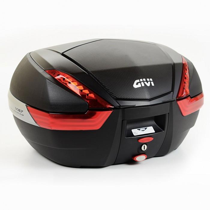 Baú Givi V47 Monokey Carbon Vermelho traseiro NOVO!  - Nova Suzuki Motos e Acessórios