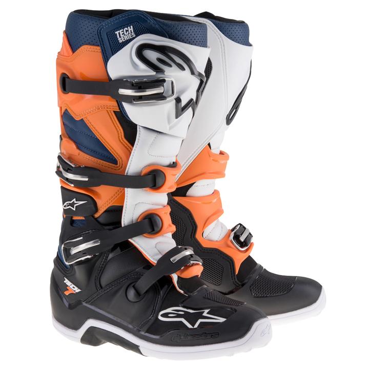 Bota Alpinestars Tech 7 (Black/Orange/White/Blue)  - Nova Suzuki Motos e Acessórios
