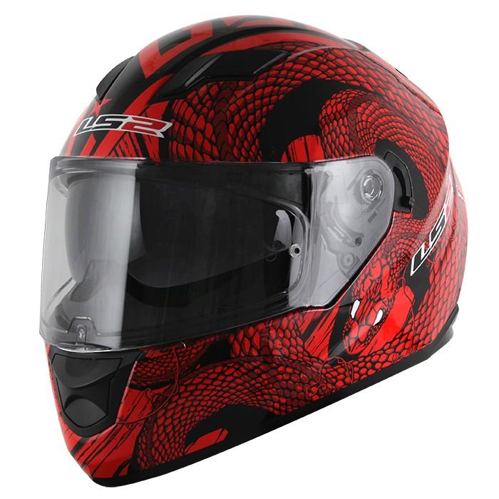 Capacete LS2 Stream (FF320) Snake (C/ Viseira Solar) Vermelho  - Nova Suzuki Motos e Acessórios